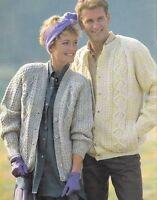 "Aran Round/V Neck Cardigan- Gullwing & Diamonds- Side Pockets 34"" - 44""  to Knit"
