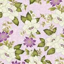 Benartex Ribbon Floral by Dover Hill Purple Plum Lavender Green Fabric 741M-06