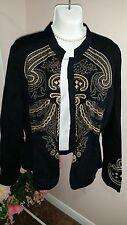 Harve Bernard Golden Floral Embroidered Black Jacket Size 10 WC329