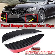 Carbon Fiber Look Front Bumper Canards Vent Flaps For Mercedes-Benz E