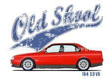 ALFA ROMEO 164 3.0 V6 t-shirt. OLD SKOOL. CLASSIC CAR. MODIFIED. RETRO.
