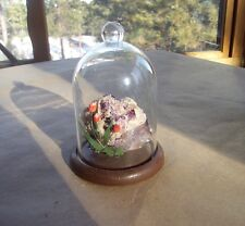Vintage Gem & Mineral Show Souvenir Fluorite/Calcite with Tulips in Glass Dome