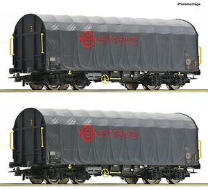 """Roco H0 76039 Schiebeplanenwagen-Set """"Gattung Shimmns"""" der Ermewa - NEU + OVP"""