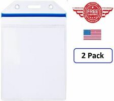 Heavy Duty Clear Vinyl ID Badge Holder w/ Resealable Zip-Lock-Vertical-2 Pack