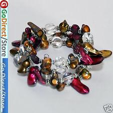 Brown & Purple Color Teeth Shape Freshwater Pearl, White Crystal Bangle Bracelet