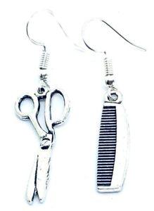 Realistic detail vintage tibetan style Scissors & Comb Earrings hairdresser Gift