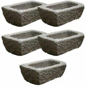 Set of 5 Granite Rectangular Trough Planters - Stone Garden Container Decor Home