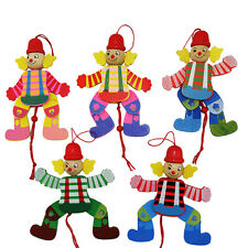 1Pcs Wooden Clown Toy Funny Pull String Puppet Creative Marionette Toy for KidJB