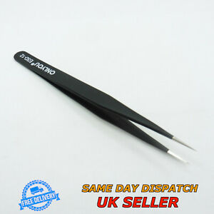 Stainless Steel Anti-Static Tweezers ESD12 Straight Fine Tip Precise