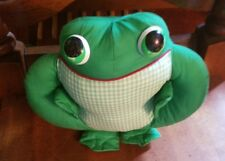 """Vintage Stuffed Frog Toy 12"""" 80's Green cloth checkerpillow"""
