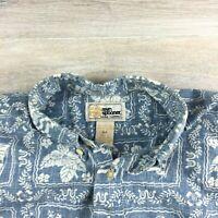 Vintage Reyn Spooner Hawaiian Aloha Shirt Reverse Print  Blue - Sz. M
