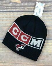 NHL Arizona Coyotes Adult Non Cuff Knit Winter Beanie Hat CCM Black NWT