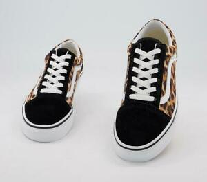 VANS Old Skool Shoes Leopard black White Print Unisex Size UK 6