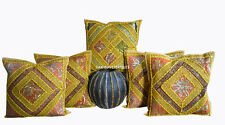 "SET OF 5 INDIAN HANDMADE ZARI WORK 16X16"" COTTON CUSHION COVER ETHNIC ART s[pd"