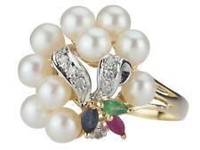14 K 585 Gold Süßwasser Perle Brillant Smaragd Rubin Saphir Damen Ring!