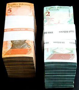 2014 & 2018 Venezuela $2 & $5 Bolivares UNC 2 Bricks 2000 Pcs New UNC SKU035