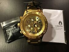 New Nixon Watch A037502 42-20 Chrono All Gold A037-502 with tags Authentic