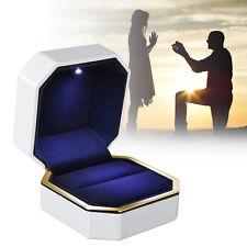 Luxury Jewelry Ring Box Holder with LED Light Wedding Proposal Engagement Gift