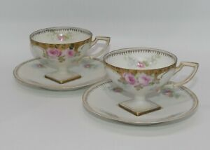 RS Prussia German Poland China Tillowitz Jewelled Roses square base cup pr duos