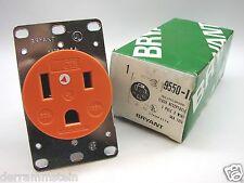 Bryant 9550-Ig 50 Amp 125 Volt 2-Pole 3-Wire Flush Receptacle 5-50R Orange t13