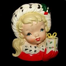 Vintage NAPCO Christmas Girl Planter Head Vase - Excellent Condition!