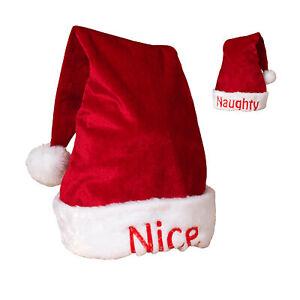 Plush Reversible Santa Hat Nice Or Naughty Christmas Holiday Cap