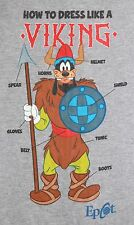 Walt Disney World EPCOT Goofy Viking T-Shirt - MEDIUM - Gray