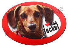 """Magnet chien """"J'aime mon Teckel à poil court"""" frigo / voiture idée cadeau NEUF"""