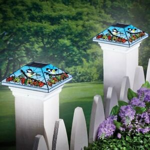 Solar Powered Elegant Stained Glass Look Chickadee Patio Fence Post Cap Light