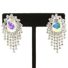 AB rainbow clip on earrings diamante rhinestone sparkly bridal prom party 361