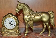 VINTAGE WESTERN ARABIAN HORSE MANTLE CLOCK BY UNITED METAL GOODS USA, WORKS!