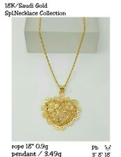 Gold Authentic 18k gold necklace 18 inches chain with heart pendant