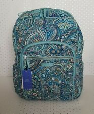 Vera Bradley Iconic Campus Backpack Daisy Dot Paisley Blue Green Cotton