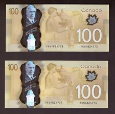 *** Canada 2011, $100 Polymer Frontiers, Consecutive SN, FKW4824773-4, UNC ***