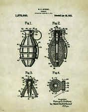 US Military Museum Grenade Patent Poster Art Print Marines Army Sniper PAT185