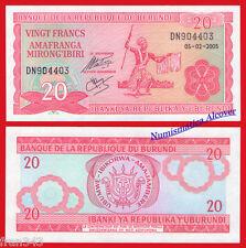 BURUNDI 20 Francs francos 2005 Pick 27a   SC / UNC