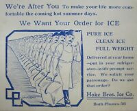 Vintage Ice Delivery Advertising Hoke Brothers Parsons Kansas Postcard 1910-20s