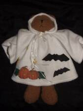 EUC - HALLOWEEN brown plush teddy bear GHOST w/ white hooded costume ~ 15""