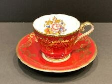 Aynsley Floral Demitasse Cup and Saucer Signed J A Bailey