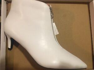 Women's White Bootie Heels Size 13M