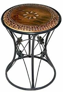 Wooden Wrought Iron Round Tea Coffee Bedroom End Table Stool Furniture Decor