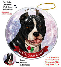 Pit Bull Dog Christmas Holiday Ornament Up To Snow Good