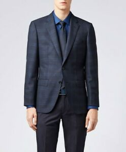 Hugo Boss Men's T-Heel Dark Blue Slim Fit Wool Windowpane Sport Coat Blazer 38R