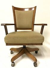 Vintage Dining Office Mid Century Danish Modern Chair Wood Brass Swivel Clam