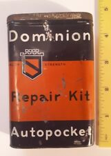 """RARE CANADIAN """"DOMINION REPAIR KIT - AUTOPOCKET"""" METAL CONTAINER W/ LID/CONTENTS"""