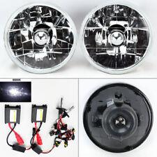 """5.75"""" 5 3/4 Round 6K HID Xenon H4 Clear Glass Headlight Conversion Pair Mercury"""