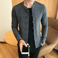 Chinese Men's Casual Slim Fit Shirt Button Front Coat Stand Collar Jacket Zhou8