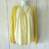 Boden Top 2 US 6 UK Mustard Yellow Floral Long Puff Sleeve Boho Peasant