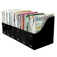 Evelots Set of 6 Magazine/File Holders Bin Home Office Desk Organizer, Black, Ne