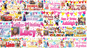 Personalised kids happy birthday banner photo first 1st 2nd 3rd 4th 5th 6th 7th